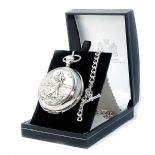 St Christopher Pocket Watch, Skeleton Mechanical, PERSONALISED ref SCPWS